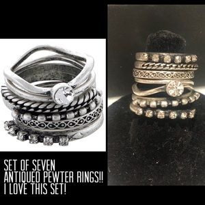 Set of Seven Antiqued Pewter Rings!Sz 7 or 9 🎁
